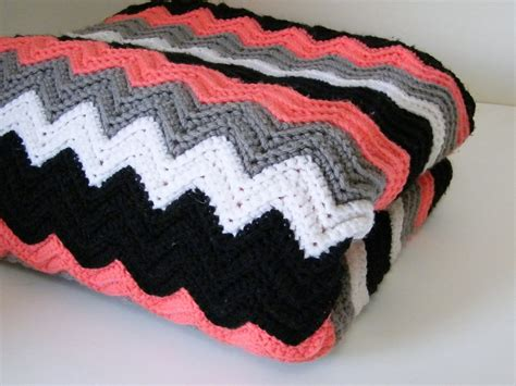 crocheted chevron blanket crocheted throw black white gray coral throw crocheted lap blanket