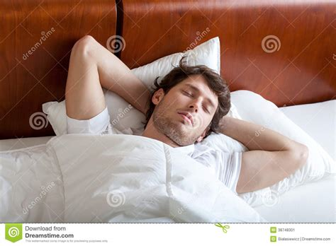 man sleeping in bed man sleeping in bed stock image image 38748301