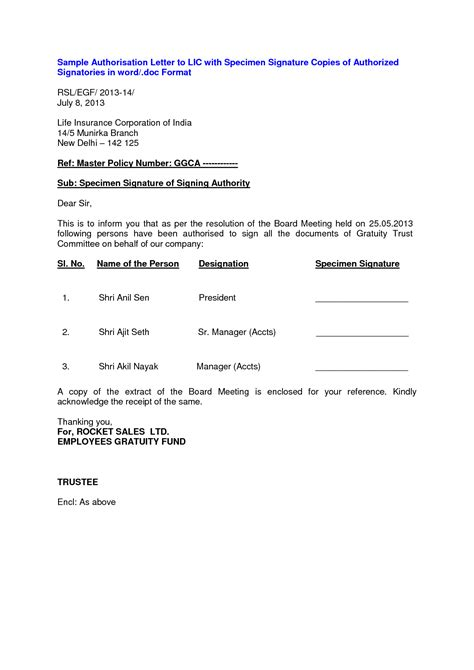 signature authorization letter format for bank format of appeal letter best template collection