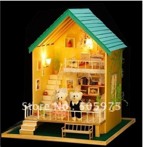 toddler dolls house baby house miniature dollhouse diy doll house wooden house model in doll houses from