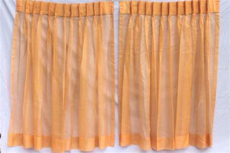 orange sheer curtain panels retro orange curtains 60s vintage sheer voile window