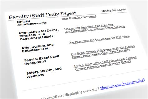 New Format New Deadline For Daily Digest Uconn Today Email Digest Template