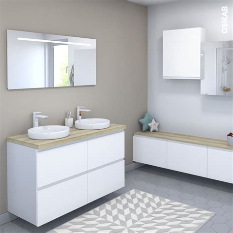Plan De Toilette Salle De Bain by Ensemble Salle De Bains Meuble Ipoma Blanc Mat Plan De