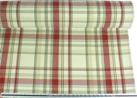 red check upholstery fabric tartan check wool look and feel cream red upholstery