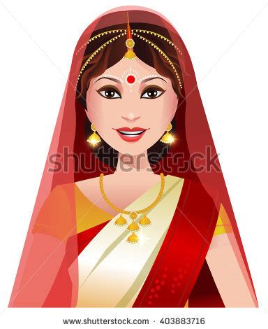 cartoon indian princess dress indian woman state bengal traditional saree stock vector