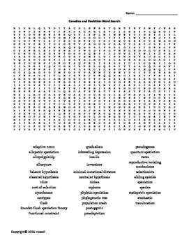 printable word search evolution genetics and evolution vocabulary word search for genetics