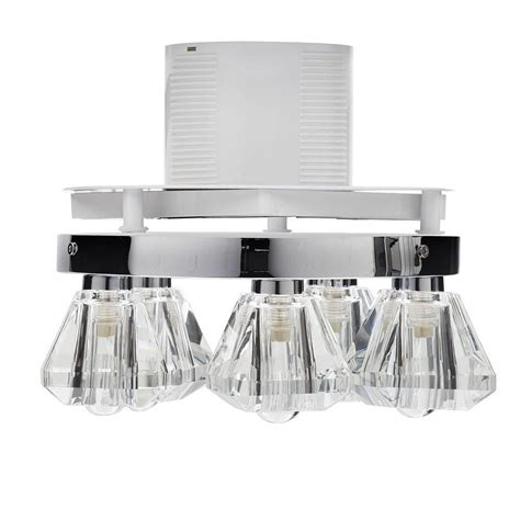 5 light bathroom ceiling spotlight w extractor fan chrome