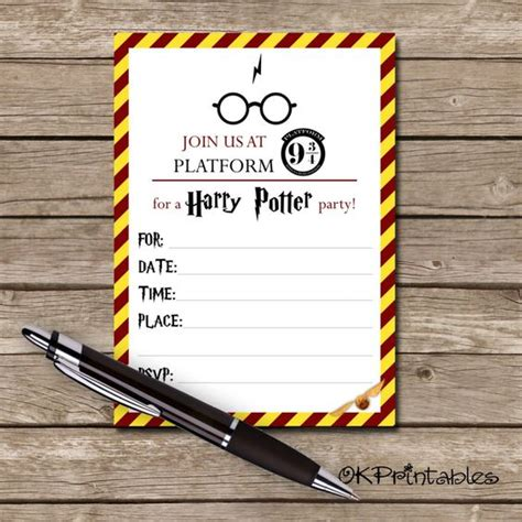harry potter card template harry potter invitations shops and products on