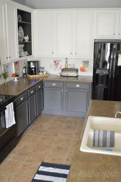 two tone painted kitchen cabinets easy kitchen redo after painting kitchen cabinets nickel