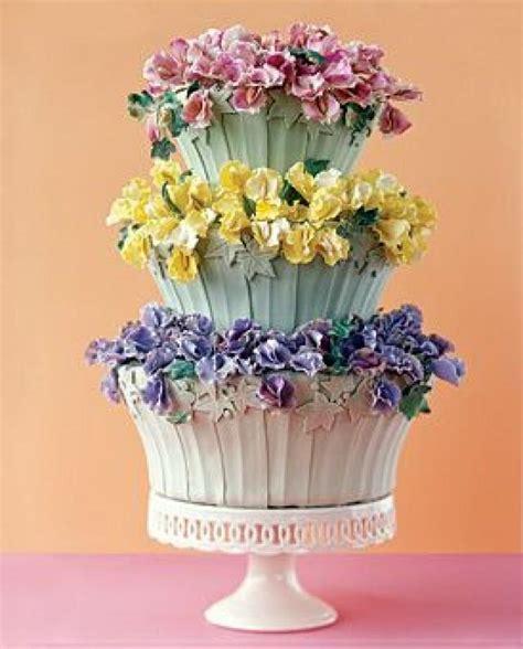 Flower Garden Cake Pinterest Flower Pot Cake Decorated With Colorful Flowers 2027017 Weddbook