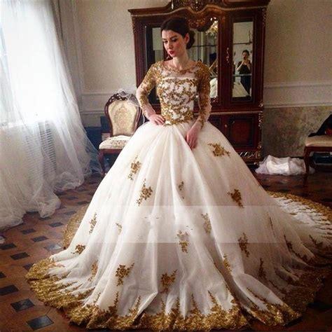 Blus Muslim White gorgeous gold lace appliques arabic wedding dresses 2016