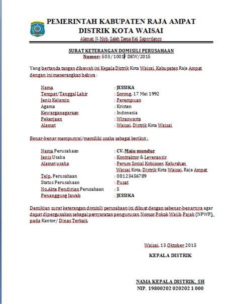 contoh surat keterangan domisili perusahaan distrik kota waisai