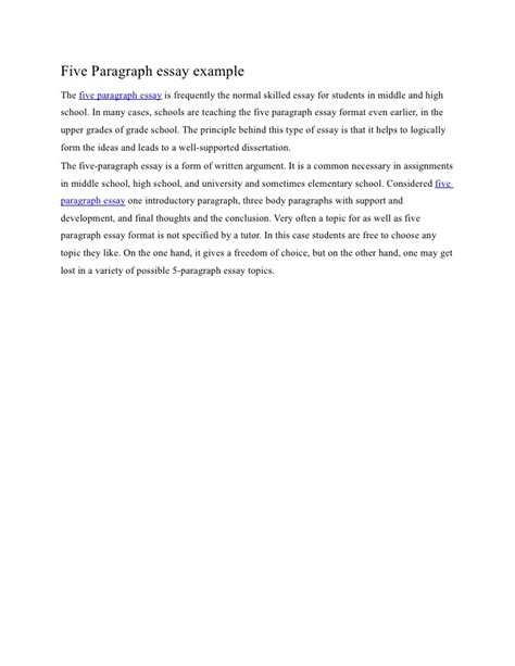 Exles Of Five Paragraph Essays by Five Paragraph Essay Exle