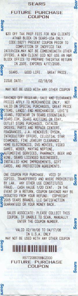 Sears Receipt Template by Turbo Tax Program 2006