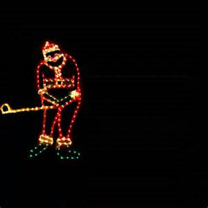 santa light lighted golfing santa claus