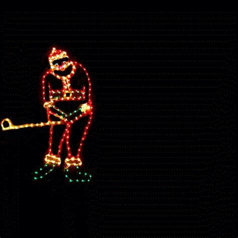 lights santa lighted golfing santa claus