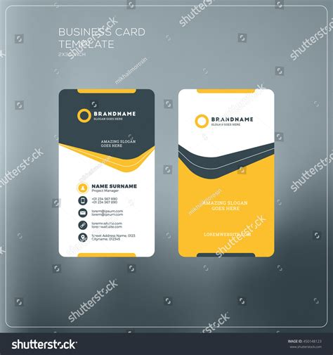 company vertical id card template vertical business card print template personal stock