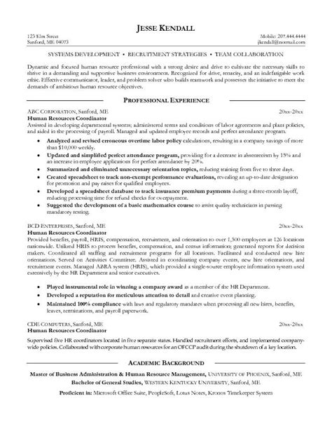 Resume Sles Human Resources Coordinator Exle Human Resources Coordinator Resume Free Sle