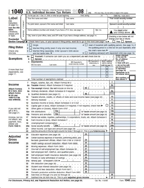Form 1040 Us Individual Income Tax Return Form Image Chip S Journey Tax Return Template