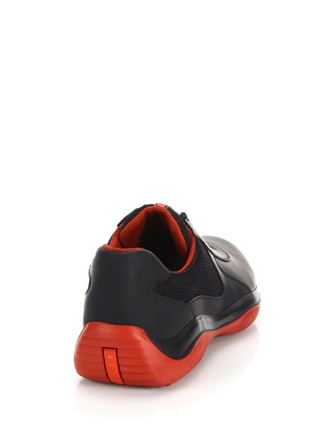 new prada sneakers prada leather sneakers in black for lyst