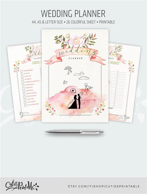 printable wedding planner organizer book wedding planner printable 26 colorful and romantic organizer