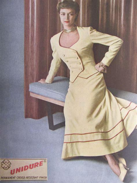 1940s women fashion fabrics pintucks 1940s fashions american fabrics magazine from 1949