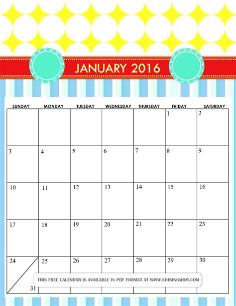 printable monthly calendar january 2016 2018 calendar cute weekly calendar template