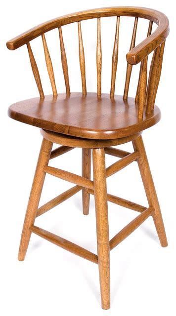 solid medium oak hoop back swivel 30 inch bar stool