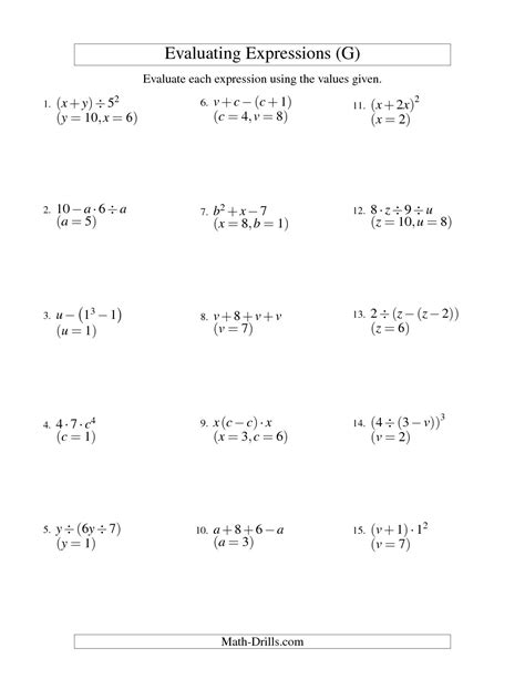 Evaluate Each Expression Worksheet by 14 Best Images Of Algebra Variables And Expressions
