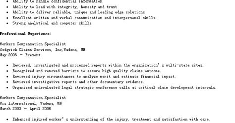 resume sles sle workers compensation specialist resume