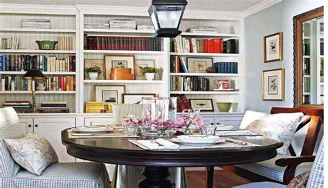 multipurpose dining room dining room and library combo cottage style