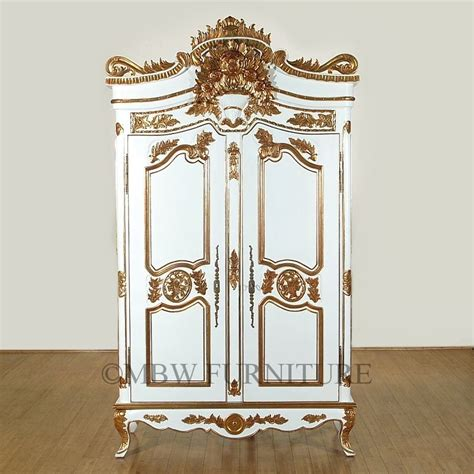white armoire closet hand made 8ft tall solid mahogany white gold french armoire wardrobe closet by mbw