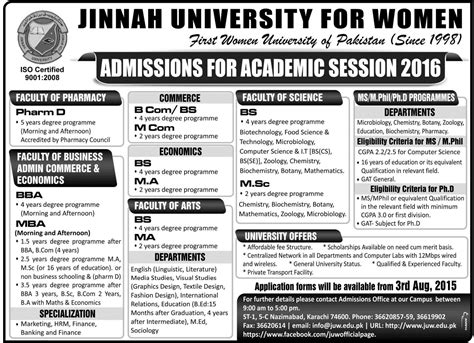 Bs Biochemistry Mba by Jinnah For Admission In Pharm D Bba Mba