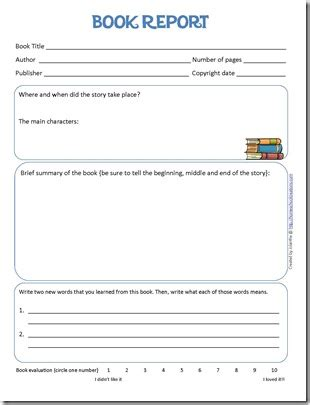 Basic Book Report Guidelines by Book Report Form And Reading Log Printables