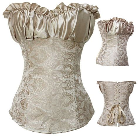 Vintage White Brocade Lace Up Boned Corset Overbust Bustier Tops S Padded Brocade Zipper Cincher Boned Lace Up Corset Bustier S 6xl Ebay