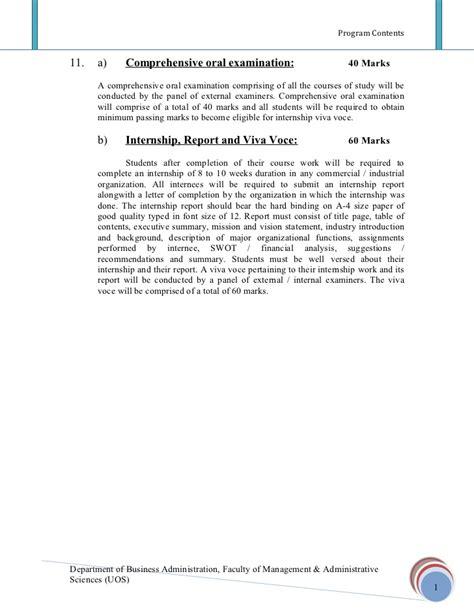 Mba Internships Sargodha by 29785143 Mba Annual 2009 Sargodha Syllabus 1