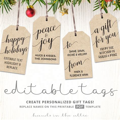 printable and editable christmas gift tags printable christmas gift tags kraft and white templates