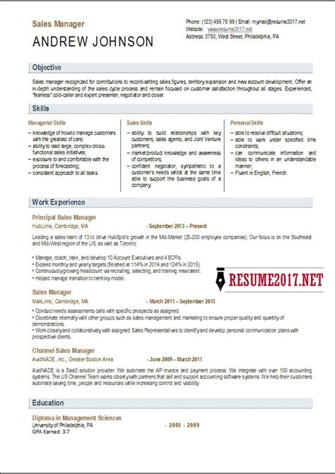 great resume sles 2017 sales manager resume template 2017