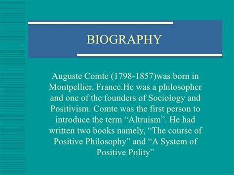 biography slideshare auguste comte