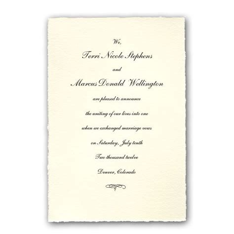 Wedding Invitation Announcement by Colonial White Medium Deckled Wedding Announcements