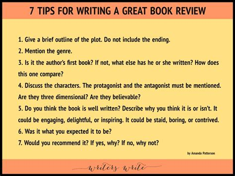 Write Book Reviews by 7 Tips For Writing A Great Book Review Writers Write