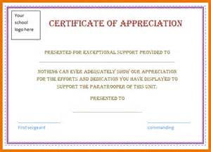 Certificates Of Appreciation Templates For Word by 5 Certificate Of Appreciation Template Word Itinerary