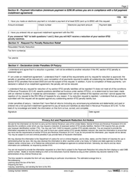 Section 213 D Of The Revenue Code by Form 14402 Revenue Code Irc Section 6702 D
