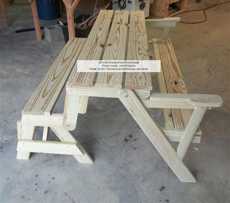 folding bench picnic table woodworking plan  full size