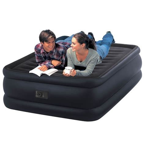 intex size fiber tech raised downy airbed with built in electric only airbeds co uk