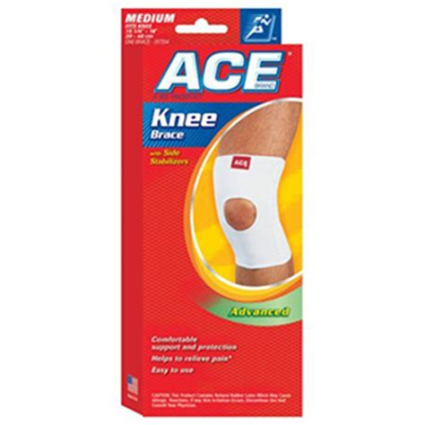 ace knitted knee support ace knitted knee brace with side stabilizers medium