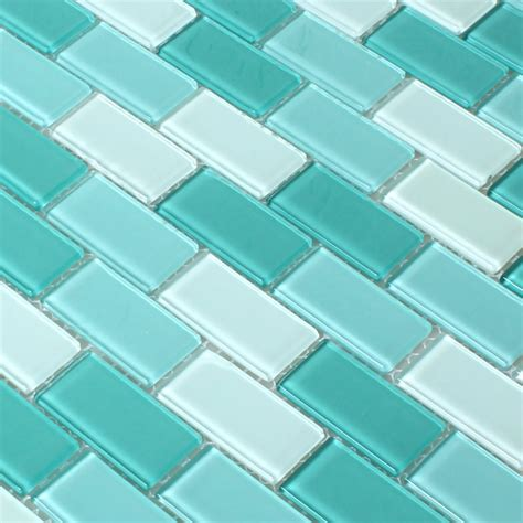 mosaic tiles glass brick crystal green mix tm33265m