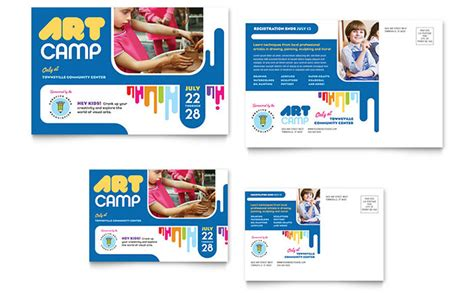 kids art camp postcard template design
