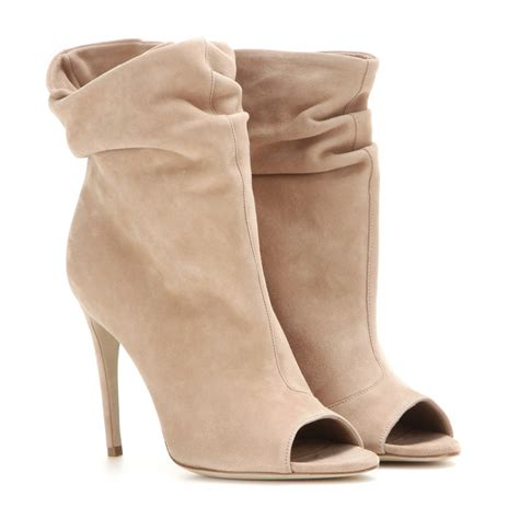 burberry burlison suede open toe ankle boots in lyst
