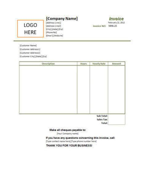 Small Business Invoice Templates by 25 Free Service Invoice Templates Billing In Word And Excel